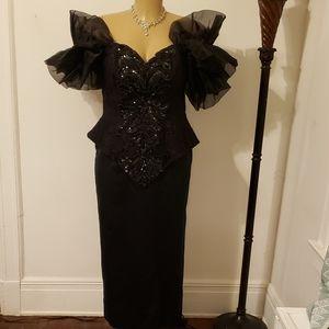 Vintage Black Gown by Karen Okada for David Howard